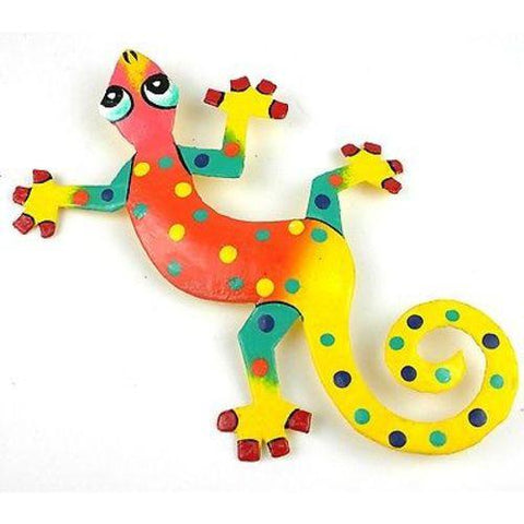 Eight Inch Yellow Tail Haitian Recycled Metal Gecko - Handmade in Haiti