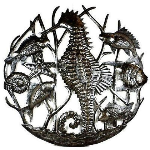 Seahorse and Fish Haitian Recycled Metal Art - Handmade in Haiti