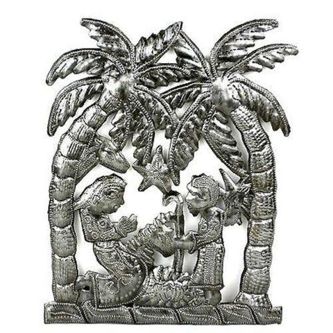 Palm Tree Nativity Wall Art  - Handmade in Haiti