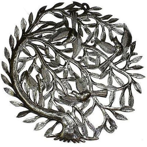 Tree of Life with Curved Trunk Haitian Recycled Metal Wall Art 24-inch Diameter - Handmade in Haiti