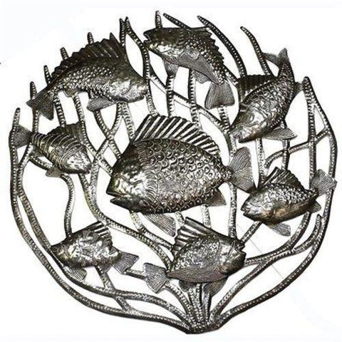 Fish in Coral Haitian Recycled Metal Wall Art 24-inch Diameter - Handmade in Haiti