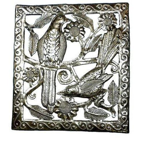 Two Birds Haitian Recycled Metal Wall Art - 11 by 12 Inches - Handmade in Haiti