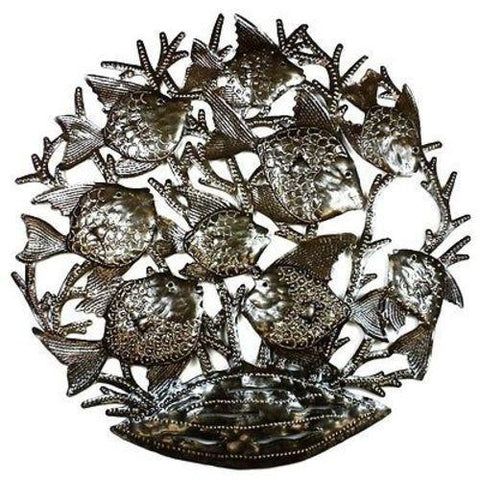 School of Fish - 24 Inch Haitian Recycled Metal Art - Handmade in Haiti