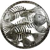 Round Fish Bones Haitian Recycled Metal Wall Art - Handmade in Haiti