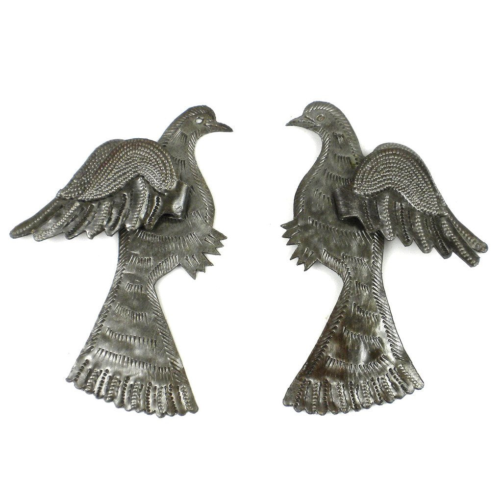 Pair of Birds with 3D Wings Haitian Recycled Metal Wall Art - Handmade in Haiti