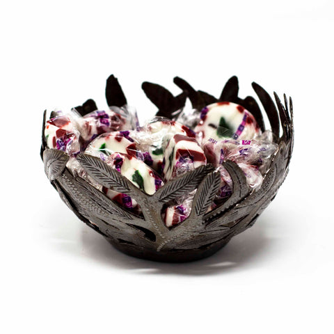 Decorative Haitian Recycled Metal Bowl with Birds - Handmade in Haiti