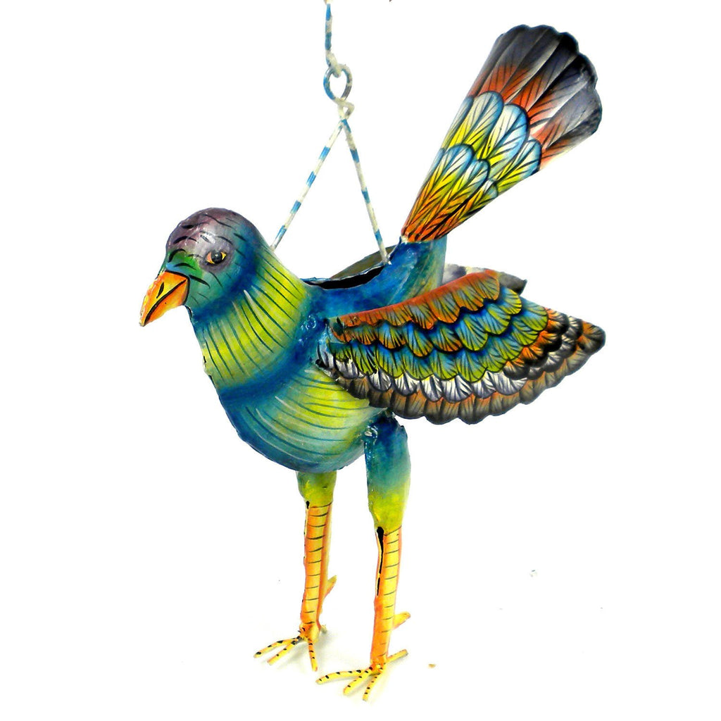 Hand Painted Haitian Recycled Metal Hanging Bird  - Handmade in Haiti