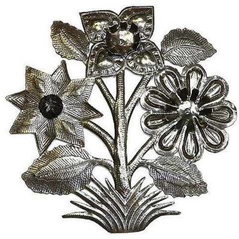Flowers Haitian Recycled Metal Wall Art 15-inch Diameter - Handmade in Haiti