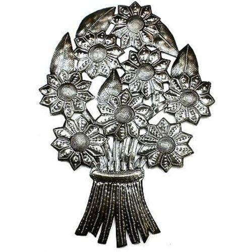 Bouquet of Flowers Haitian Recycled Metal Wall Art - Handmade in Haiti