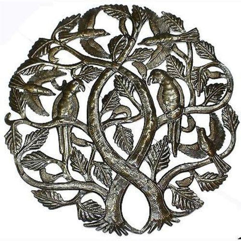 Tree of Life with Parrots 24-inch Haitian Recycled Metal Art - Handmade in Haiti