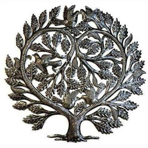 Steel Drum Art -  Lovers Heart 24 inch Tree of Life - Handmade in Haiti