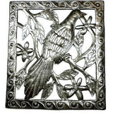Single Bird Haitian Recycled Metal Wall Art - 11 by 12 Inches - Handmade in Haiti