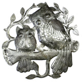 Pair of Owls on Perch Haitian Recycled Metal Wall Art - Handmade in Haiti