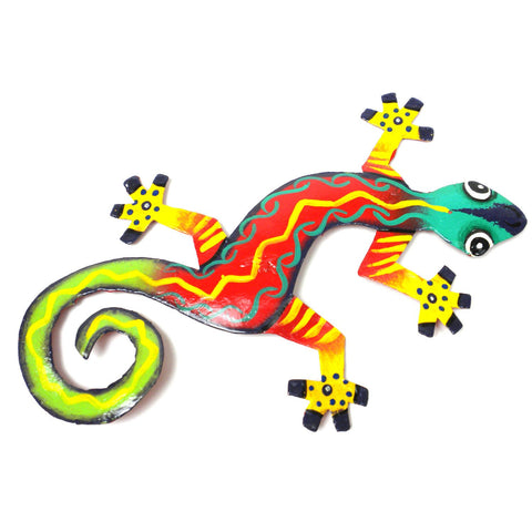 Eight Inch Tiger Feet Design Haitian Recycled Metal Gecko - Handmade in Haiti