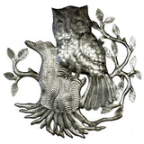 Owl on Perch Haitian Recycled Metal Wall Art- Handmade in Haiti