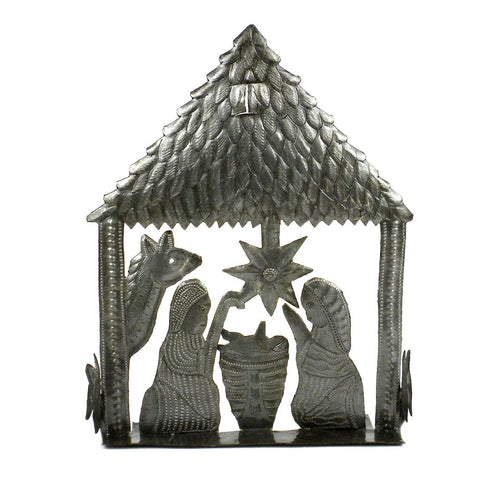 9 inch Table Top Haitian Recycled Metal Nativity  - Handmade in Haiti
