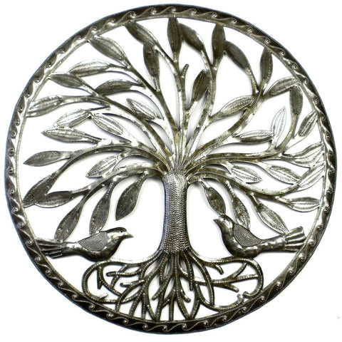 Tree of Life with Two Birds Haitian Recycled Metal Wall Art - Handmade in Haiti