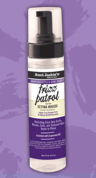 Aunt Jackie's Frizz Patrol Anti-Poof Twist & Curl Setting Mousse 8.5 oz.