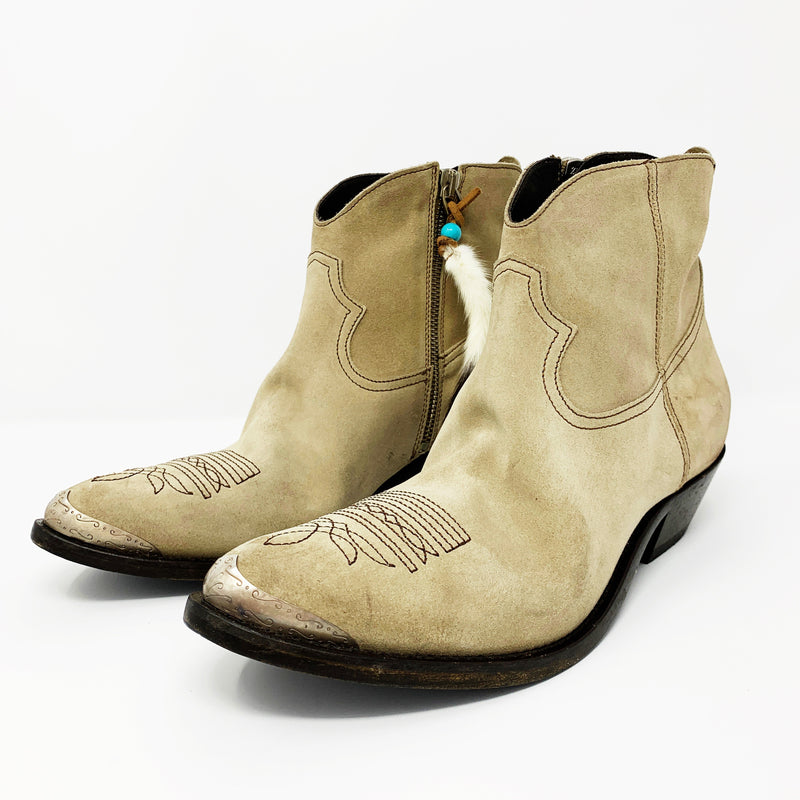 Golden Goose Young Western Boot, Mud Suede size 39.5
