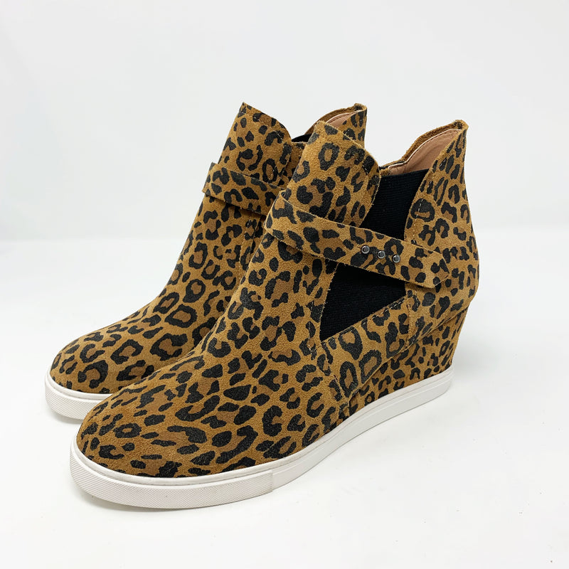 Linea Paolo Freshton Leather High-Top Wedge Sneaker, Leopard Size 8.5