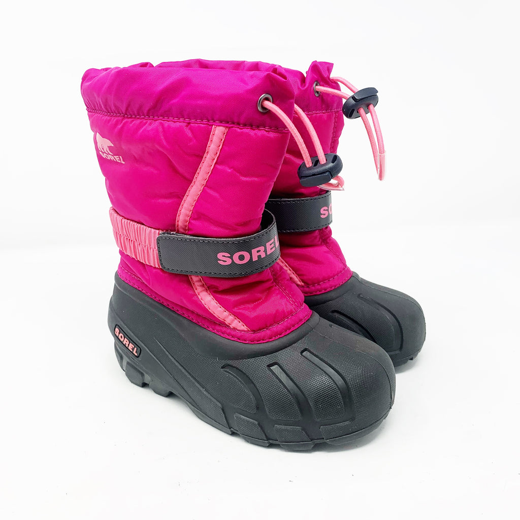 Sorel Flurry Weather Resistant Snow Boots, Pink Girls size 12