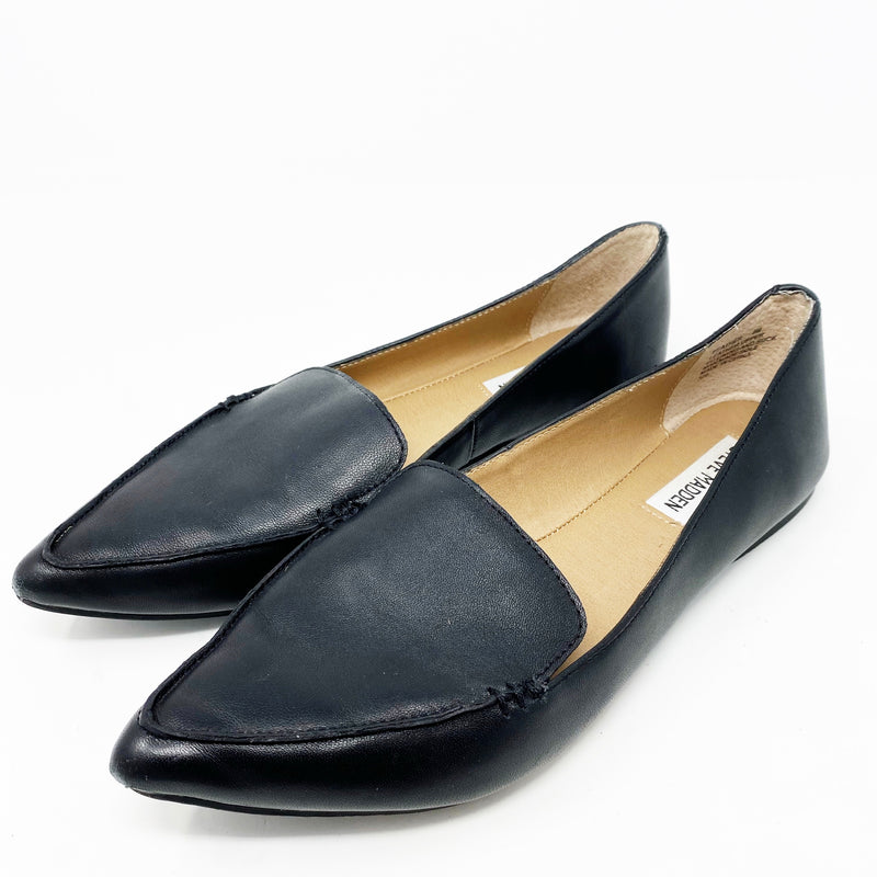 Steve Madden Feather Flat, Black leather size 9
