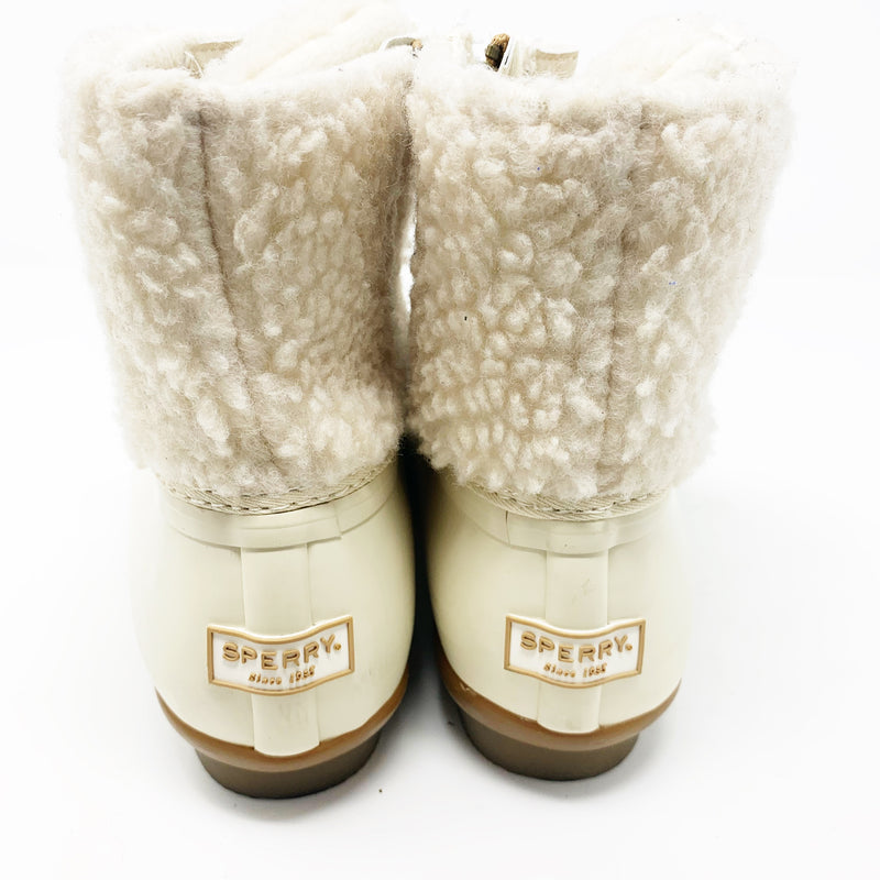 Sperry Saltwater Rain Boot, Ivory Shearling size 7