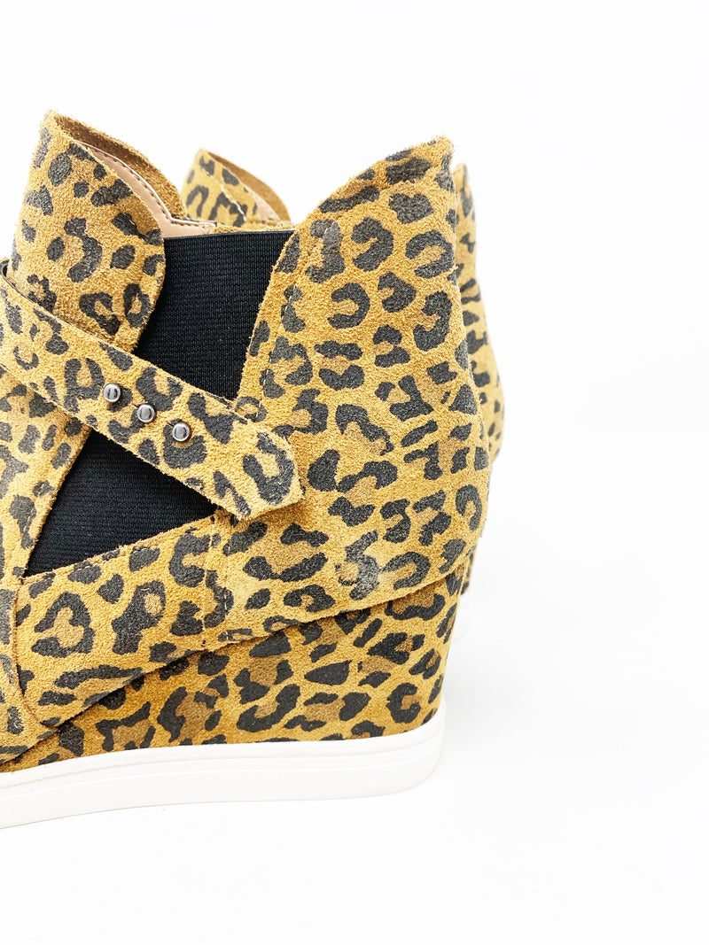 Linea Paolo Freshton High Top Wedge Sneaker, Leopard size 8