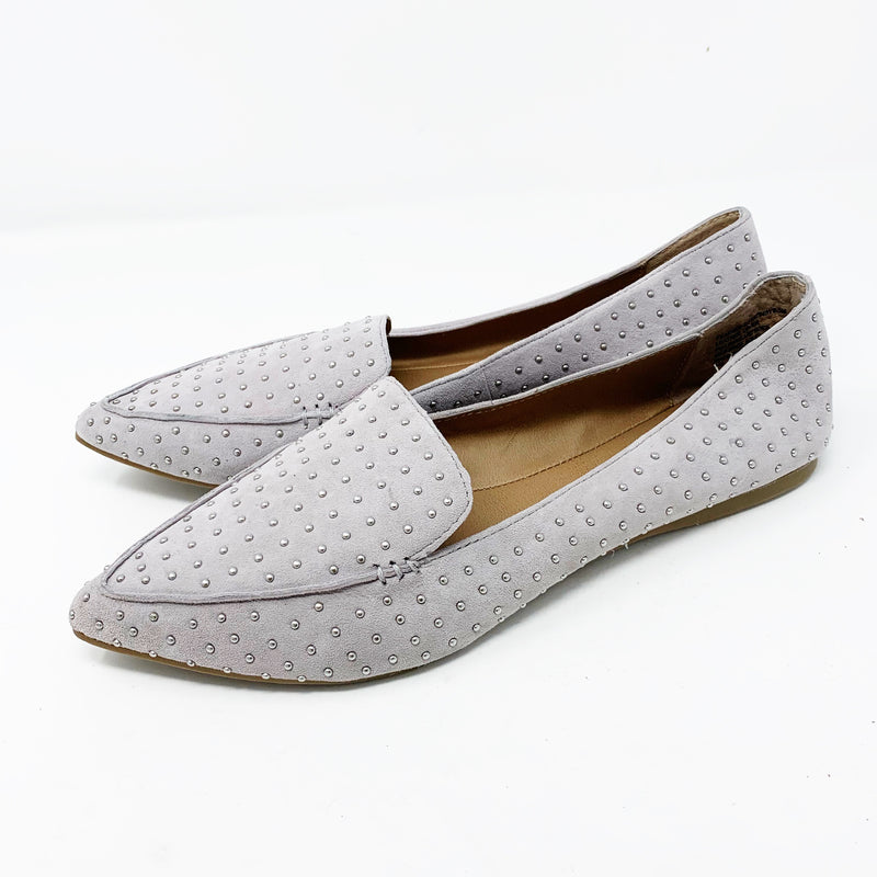 Steve Madden Feather-S Loafer Flat, Gray Studded 7