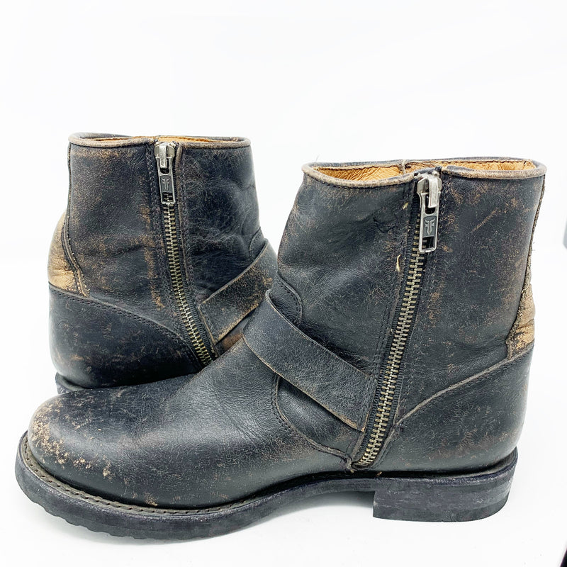 Frye Women's Veronica Belted Booties, Weathered Black size 7