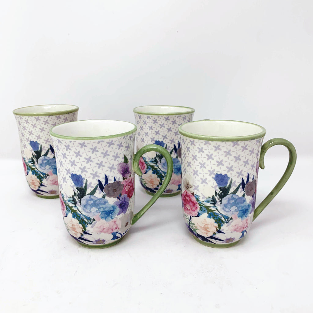 Anthropologie Jioletta Set of 4 Floral Mugs