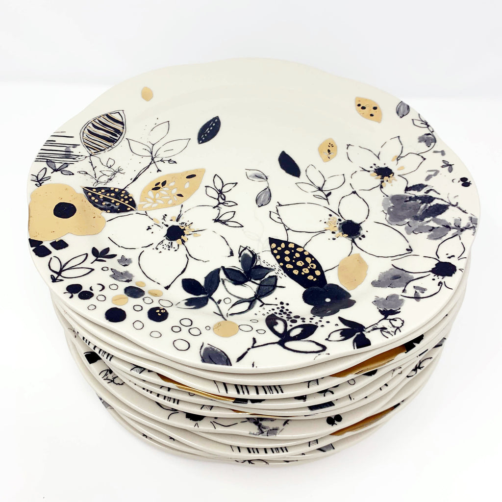 Anthropologie Lauren Wan Floral Vine Dinner Plates
