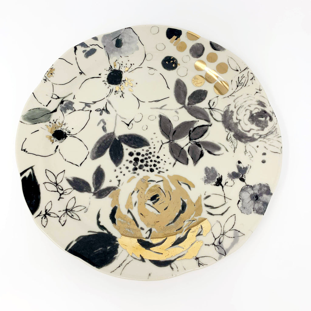 Anthropologie Lauren Wan  Floral Vine Side Plate