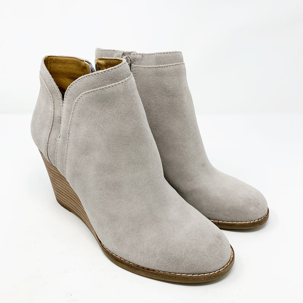 Lucky Brand Yimina Wedge Bootie, Gray Suede size 8.5