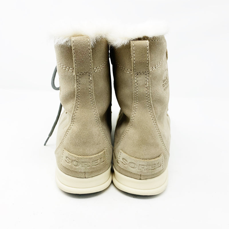 Sorel Explorer Joan Faux Fur Waterproof Boots, Cream size 9