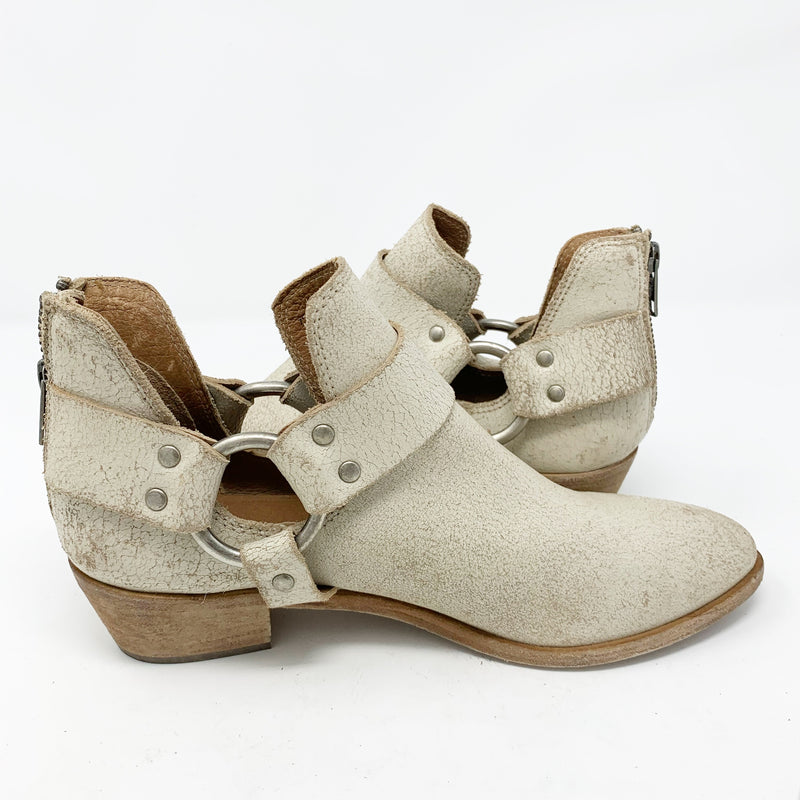 Frye Ray Harness Leather Bootie, Cream size 7.5