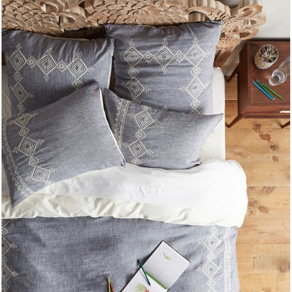 Anthropologie Embroidered Argenta Pillow Shams, King