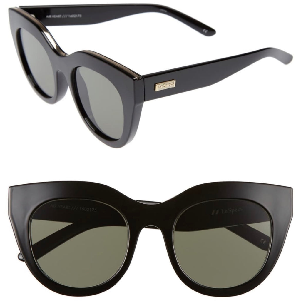 Le Specs Air Heart Sunglasses, Black