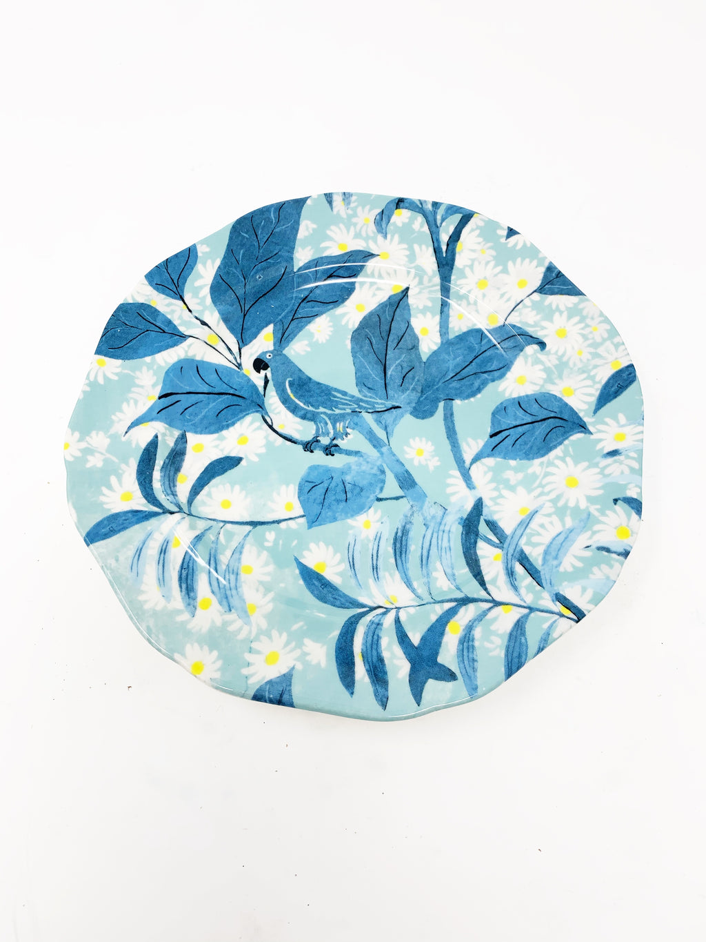 Anthropologie Paul Marrot Française Dessert Plate Set of 4, Blue Parrot