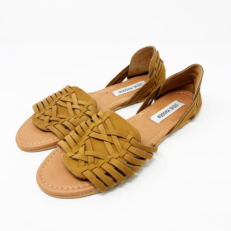 Steve Madden Fiddle Woven Sandals, Cognac size 9