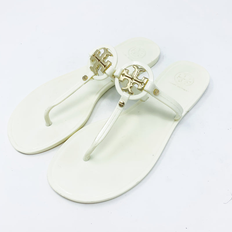 Tory Burch Mini Miller Jelly Flat Thong Sandals, Ivory/Gold size 7
