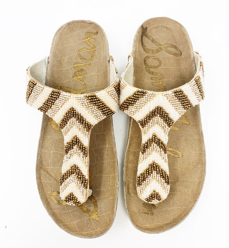 Sam Edelman Olivie Beaded Flip Flop, Brown Stripe size 6