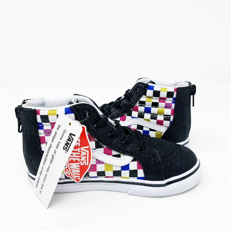 Vans Sk8-Hi Sneaker, Rainbow checker, size Little Kid 10