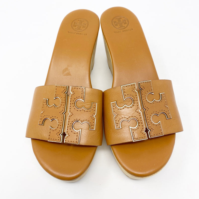 Tory Burch Ines Wedge Slide, Camel size 8