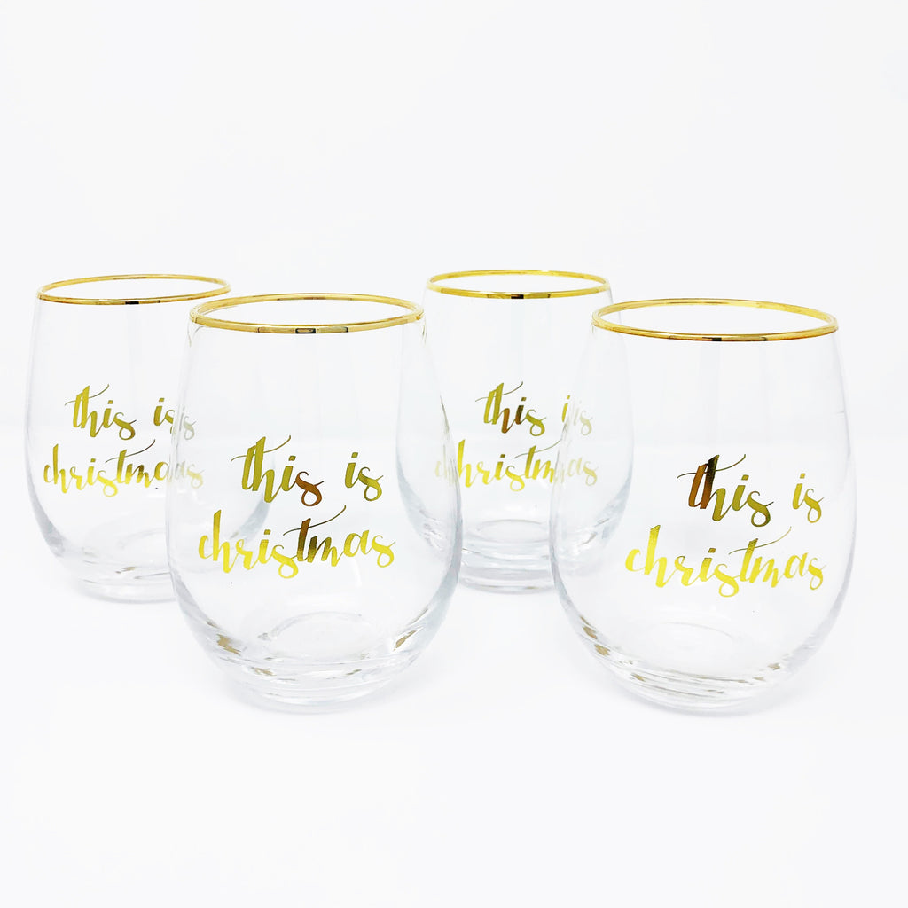 Nordstrom 8 Oak Lane Christmas Stemless Wineglass