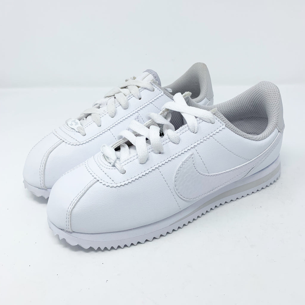Nike Cortez Sneaker, Iridescent White Big Girl 3.5