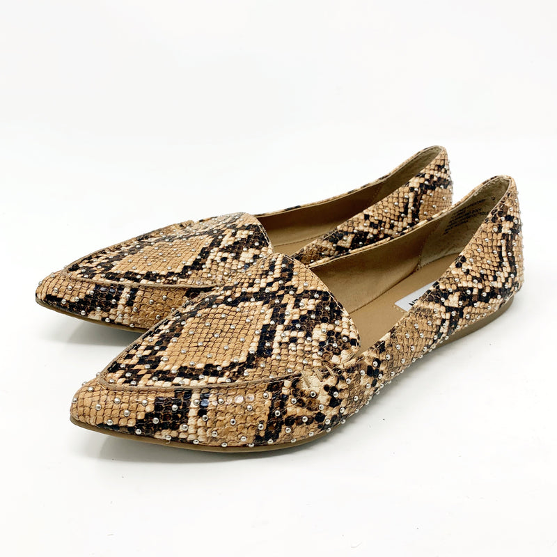 Steve Madden Feather Studded Loafer, Snakeskin size 7