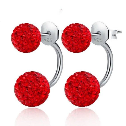 Sterling Silver CZ Double Ball Stud Earrings - Dazzled Jewels
