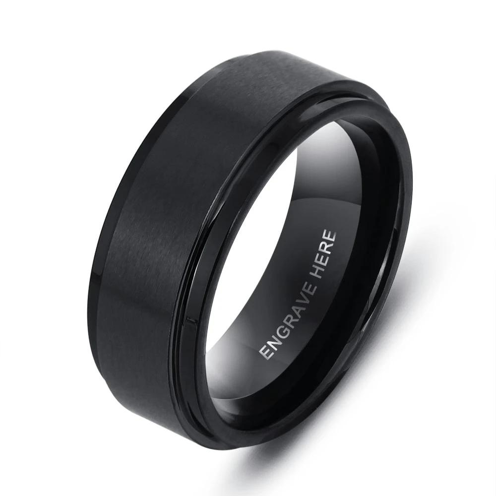 Personalized Black Stainless Steel Ring for Men - Dazzled Jewels