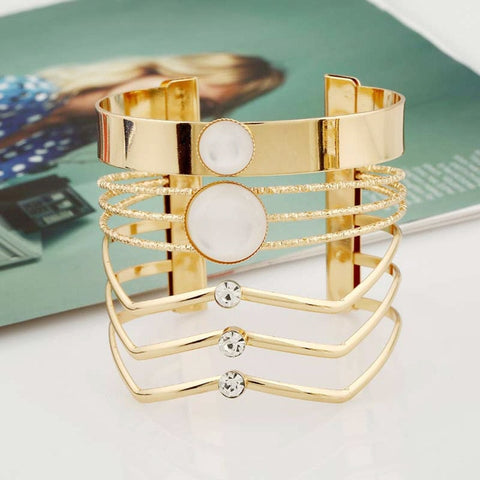 Geometric Multilayer Cuff Bracelet - Dazzled Jewels